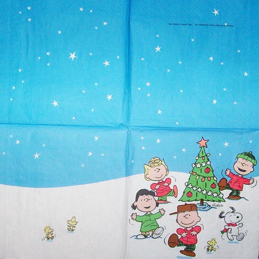 2502 Snoopy Weihnachten Serviette - www.susipuppis-serviettenwelt.de