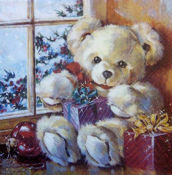 Teddy Weihnachten.7143 Teddy Weihnachten Serviette