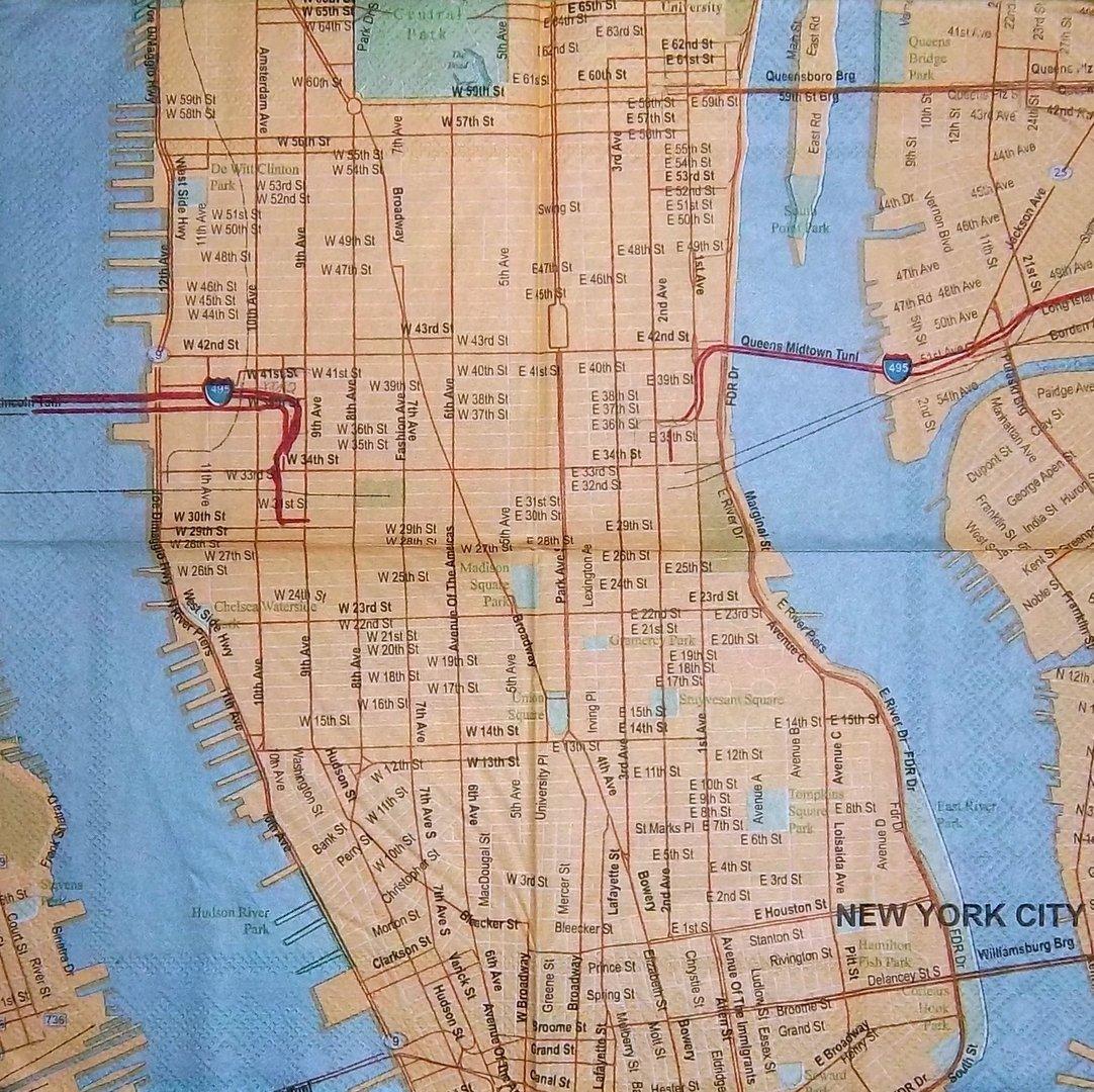 10172 stadtplan new york city serviette. Black Bedroom Furniture Sets. Home Design Ideas