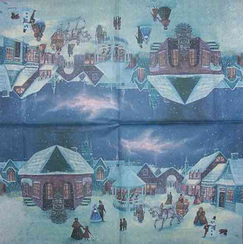 0219 Christmas Town Serviette