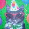 1269 Party Animals Katze Serviette