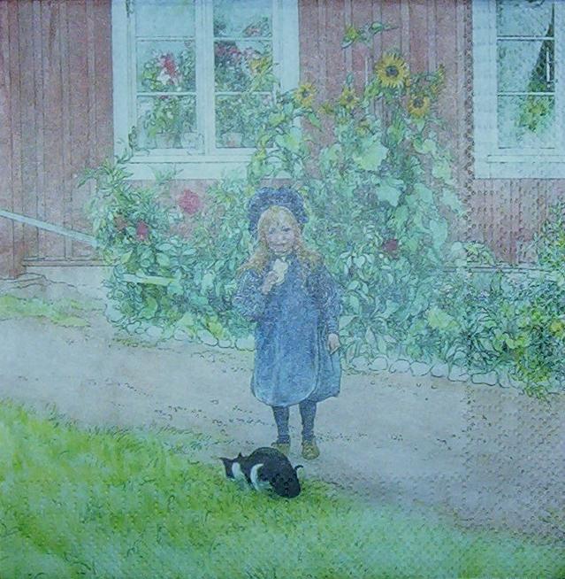 3 Servietten Carl Larsson - Künstlermotiv mit Katze