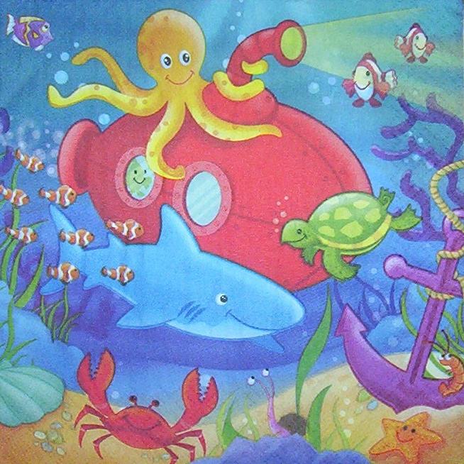 4112 unterwasser fische serviette  wwwsusipuppis