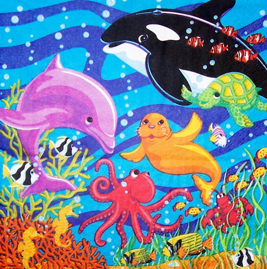 4542 unterwasserwelt serviette  wwwsusipuppis