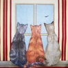 5081 Three Cats Red Serviette