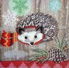 11465 Hedgehog with Scarf Serviette