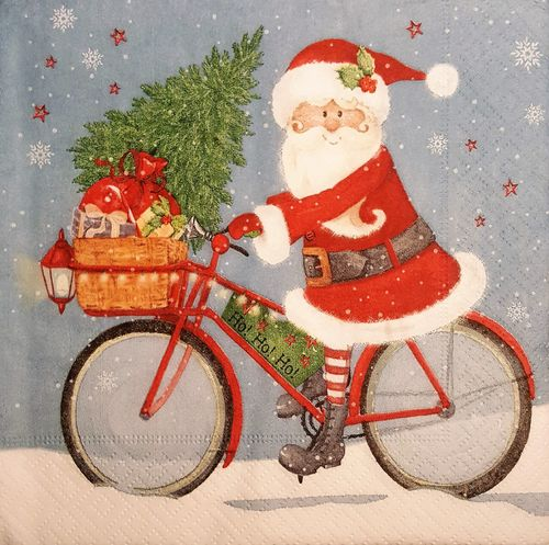 11487 Santa on bike Serviette