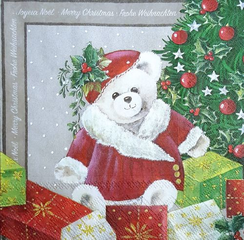 11492 Christmas Bear Serviette