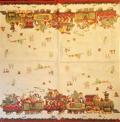 11506 Christmas Train Serviette