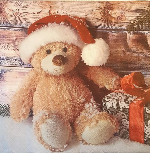 11509 Christmas Teddy with Present Serviette