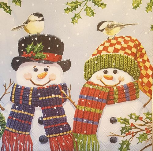 11512 Snowman Couple Serviette