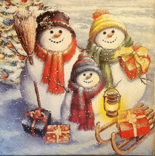 11515 Snowmen Family Serviette