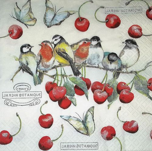 11633 Cherry Birds Serviette