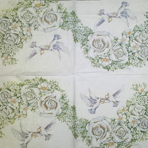11635 Romantic Doves Serviette