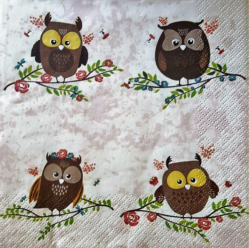 11643 Brown Owls on Twigs Serviette