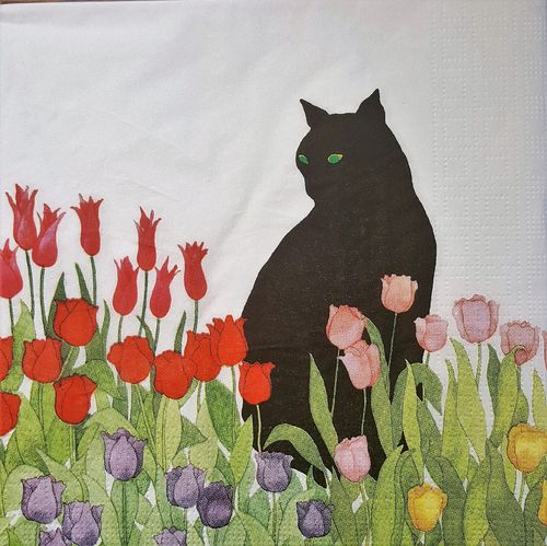 11668 Black Cat Tulips Serviette