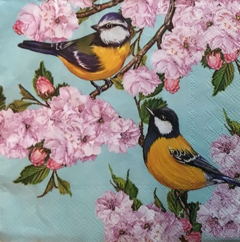 12098 Tits on Cherry Blossom Twig Serviette