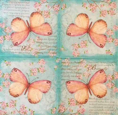 12430 Butterfly poetry Serviette