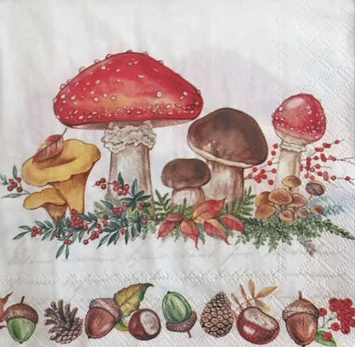 12451 Mushrooms Serviette