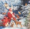 12675 Santa on Bench Serviette